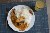 Plate of Rice, Field Peas and Chicken in Peru