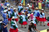 Sierra Women in Blue March in Carnival in Cajamarca, Peru