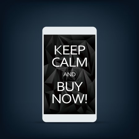 Illustration for Sale banner on smartphone screen with motivational poster text keep calm and buy now. Black low poly background. Eps10 vector illustration. - Royalty Free Image