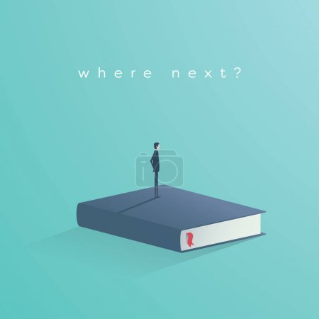 Education vector concept. Businessman or student standing on book looking at future. Symbol of career, job, graduate, achievement, wisdom.