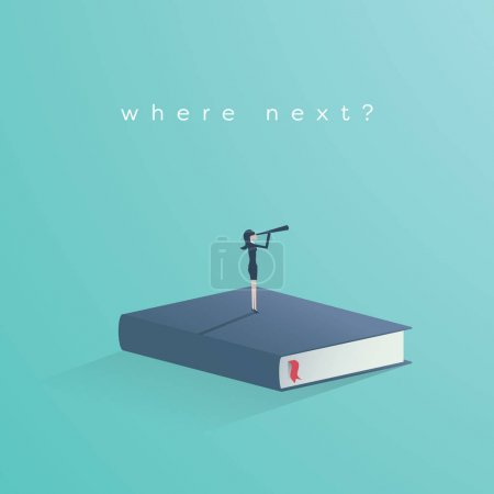 Education vector concept. Businesswoman or student standing on book looking at future. Symbol of career, job, graduate, achievement, wisdom.
