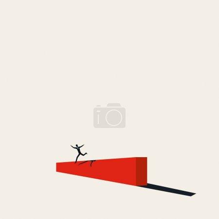 Die Bewältigung von Herausforderungen und schwierigen Zeiten Vektorkonzept. Geschäftsmann springt über Schranke Symbol des Aufschwungs.