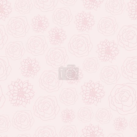Illustration for Vector Pastel Pink Line Art Fowers Floral on Pink. Background for textiles, cards, manufacturing, wallpapers, print, gift wrap and scrapbooking. Vector illustration in eps10 and jpeg for surface - Royalty Free Image