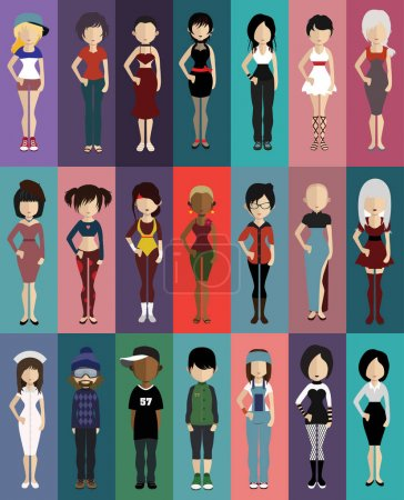 set of various people flat icons