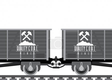 Cargo railway cars with coal