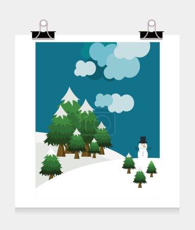 fir trees on snowy hills with snowman