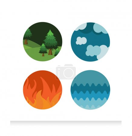 Illustration for Vector illustration of four Classical elements of nature - Royalty Free Image