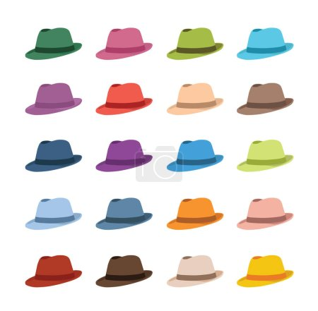 Illustration for Set of different hats isolated on white background, vector illustration - Royalty Free Image
