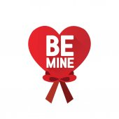 Big red heart with be mine inscription vector illustration