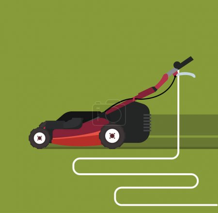 Mowing machine  on green grass