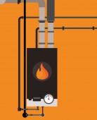 Gas boiler in cottage
