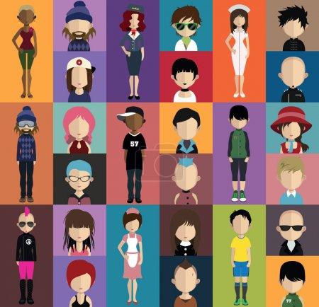 set of different user avatars