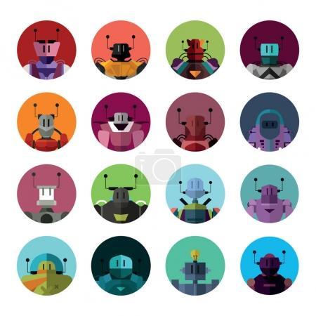 set of robot silhouettes