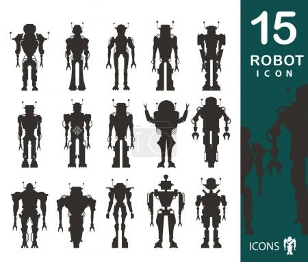 set of robot silhouettes