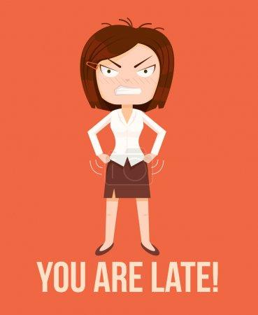 Illustration pour Femme en colère patron personnage. Concept de retard. Illustration vectorielle de dessin animé plat - image libre de droit