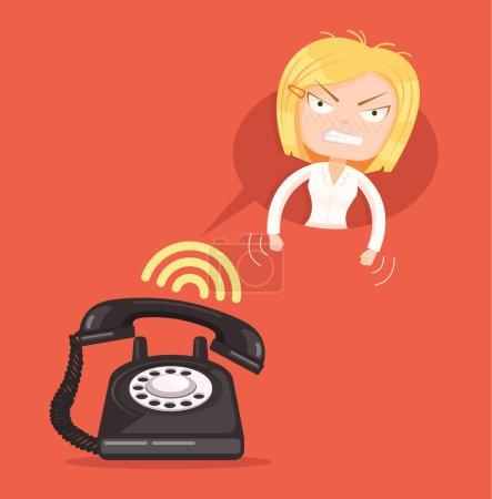Illustration pour Angry office woman character call. Illustration vectorielle de dessin animé plat - image libre de droit