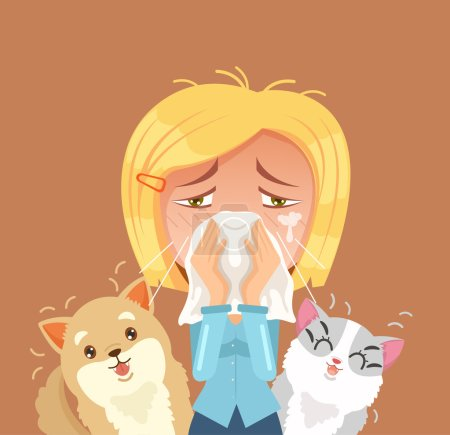 Allergic to domestic animals. Woman character sneeze. Vector flat cartoon illustration