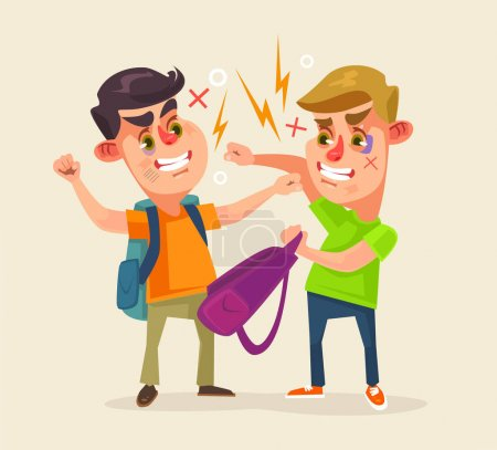 Illustration for Schoolboys characters fighting. Vector flat cartoon illustration - Royalty Free Image