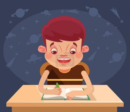 Illustration pour Joyeux personnage d'enfant faisant ses devoirs. Illustration vectorielle de dessin animé plat - image libre de droit