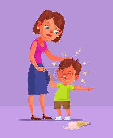Bad boy child character demand and cry. Vector flat cartoon illustration