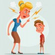 Mother character scolds son character. Vector flat...