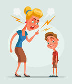 Mother character scolds son character Vector flat cartoon illustration
