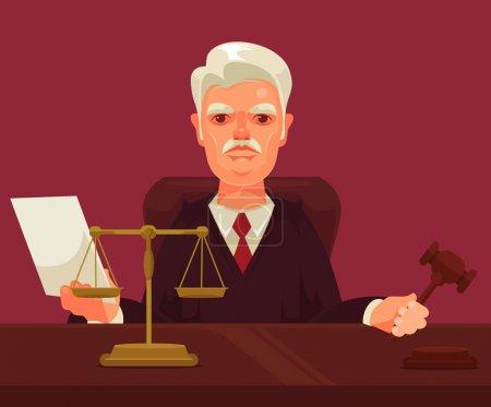 Illustration pour Juge stricte caractère homme. Illustration vectorielle de dessin animé plat - image libre de droit