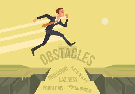 Geschäftsmanncharakter springt über Probleme hinweg. Neues Gründungsprojekt. Vektor flache Cartoon-Illustration