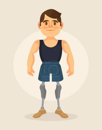 Man character with foot prosthesis. Vector flat cartoon illustration