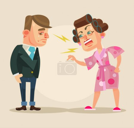 Angry wife character yelling at husband. Vector flat cartoon illustration