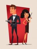 Spy couple characters Vector flat cartoon illustration