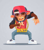 Cool monkey rapper character in modern clothes Vector flat cartoon illustration