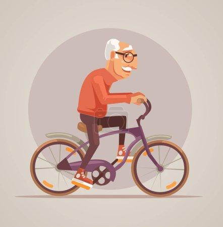 Illustration pour Grand-père caractère vélo. Illustration vectorielle de dessin animé plat - image libre de droit