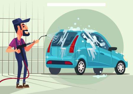 Illustration pour Travailleur personnage lavage de voiture. Illustration vectorielle de dessin animé plat - image libre de droit