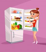 Woman character near refrigerator thinking what to eat. Vector flat cartoon illustration