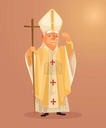 Illustration pour Joyeuse mascotte de prêtre catholique souriant vêtue de vêtements en or blanc. Illustration vectorielle de dessin animé plat - image libre de droit
