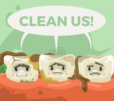 Illustration pour Sale triste caractère de dents malheureuses. Illustration vectorielle de dessin animé plat - image libre de droit