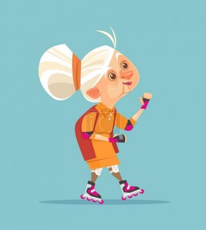 Heureuse vieille femme souriante personnage grand-mère sur le patin à roulettes. Illustration vectorielle de dessin animé plat