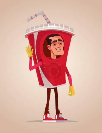 Illustration pour Heureux homme souriant promoteur mascotte de caractère habillé en costume de soda. Illustration vectorielle de dessin animé plat - image libre de droit