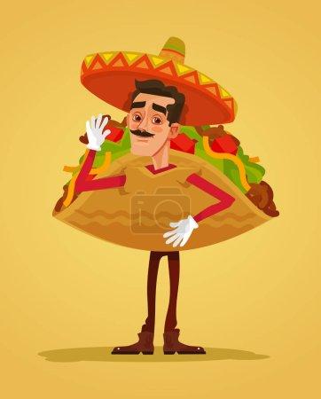 Illustration pour Joyeux homme souriant promoteur mascotte de caractère habillé en costume tacos. Illustration vectorielle de dessin animé plat - image libre de droit
