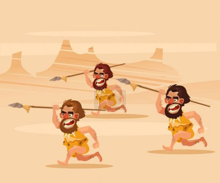 Angry hungry primitive cavemen character chasing running hunting. Vector flat cartoon illustration