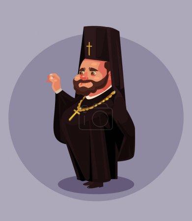 Illustration pour Vieille barbe souriante prêtre orthodoxe pasteur pape évêque vêtu de costume uniforme robe noire. Concept de religion. Illustration isolée de dessin animé plat vectoriel - image libre de droit