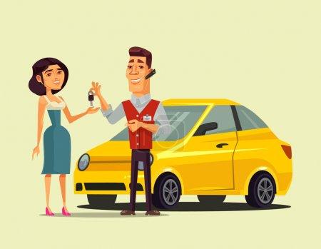 Illustration pour Riche femme souriante heureuse personnage achetant voiture et vendeur gestionnaire homme donnant la clé pour elle. Transport vente au détail plat dessin animé isolé vecteur illustration - image libre de droit