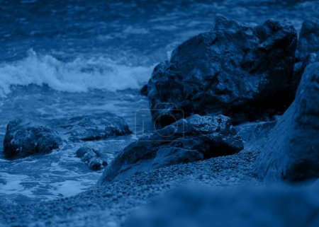Photo for View of storm seascape at darck night - Royalty Free Image