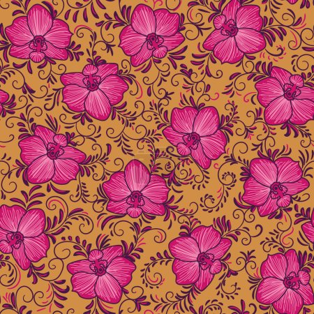 Illustration for A seamless vector pattern with bright pink orchid flowers andswirly leaves on a orange background. Vibrant feminine surface print design. Great for textiles, stationery, cards and gift wrap. - Royalty Free Image