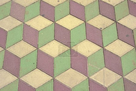 drawing on a tile for floor with a 3 D effect background