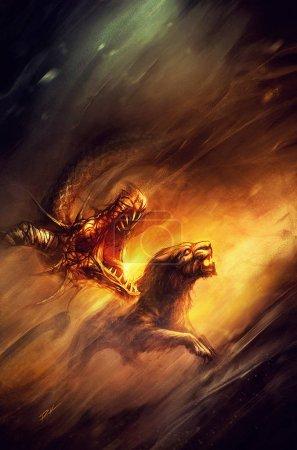 Photo pour Dragon fantasme et panthère baring leurs dents, côte à côte - image libre de droit