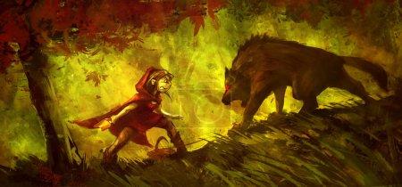 Foto de Caperucita Roja luchando con un lobo en el bosque, pintura a color divertida - Imagen libre de derechos