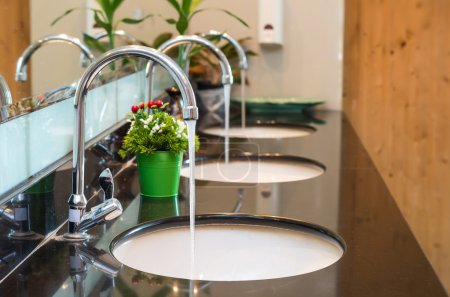 Luxury Chrome faucets with washbasins