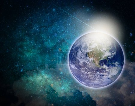 blue planet earth and star